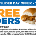 White Castle – 2 Free Sliders May 15th