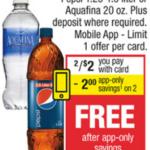 CVS – 2 Free Pepsi 1.25 Liters Or Aquafina 20 oz Bottles