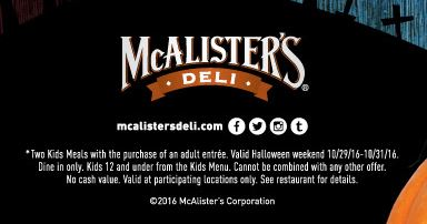 photograph regarding Mcalister's Coupons Printable named McAlisters Deli - Small children Inside Gown Take in No cost All Halloween