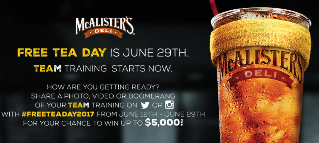 image regarding Mcalister's Coupons Printable named McAlisters Deli - Absolutely free Tea Working day June 29th - STL Mommy