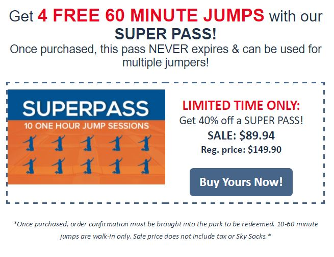 image about Sky Zone Printable Coupons identify Sky Zone Fenton Flash Sale - Buy 4 Cost-free Jumps With A Tremendous