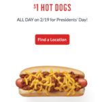 Sonic $1 Hots Dogs All Day On Presidents' Day