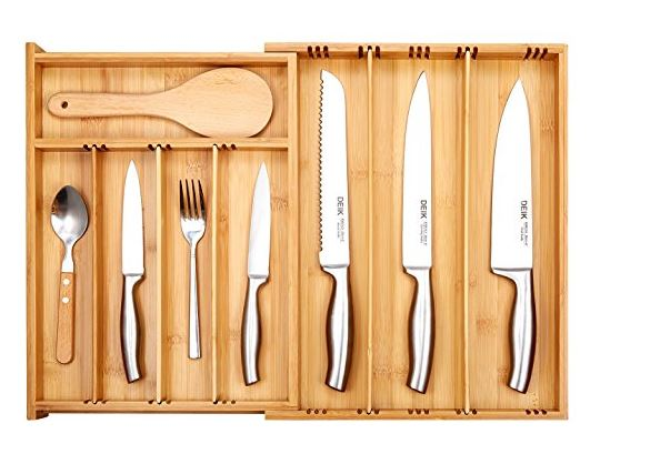 Deik Bamboo Drawer Organizer Expandable Cutlery Tray For