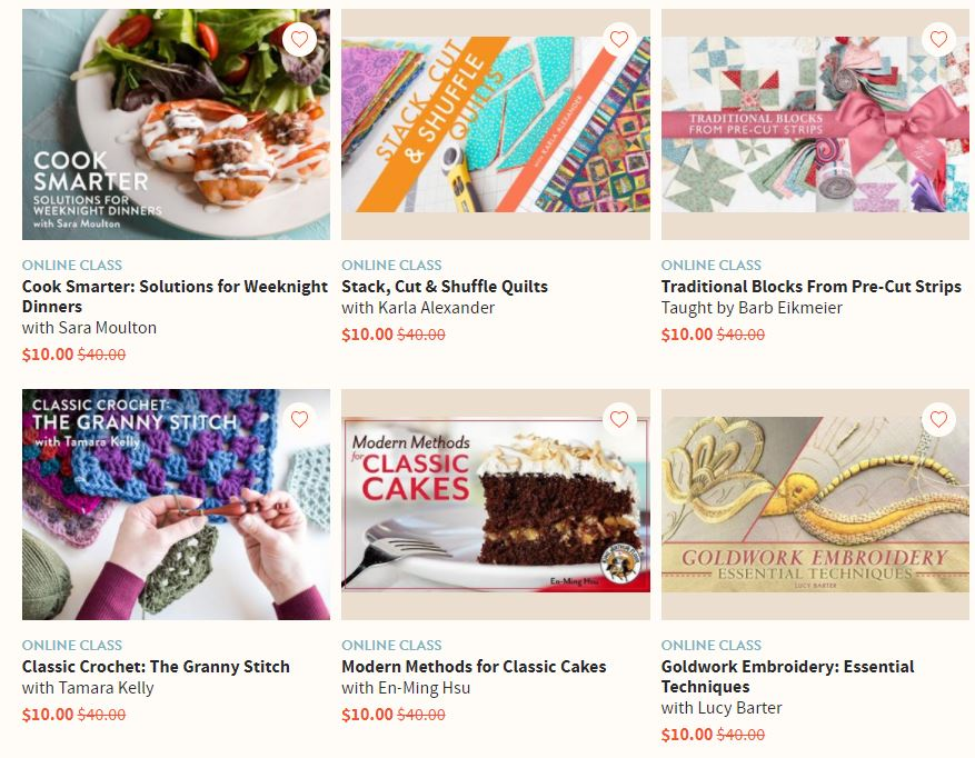 Craftsy 10 Classes For 10 Each Retail 40 Today Only