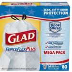 Glad ForceFlexPlus Tall Kitchen Drawstring Trash Bags -13 Gallon – 80 Count $9.25 Shipped