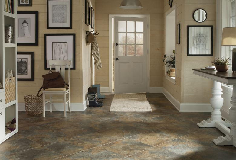 STAINMASTER Groutable Coppermine/Copper Peel And Stick Stone Luxury Vinyl  Tile $0.96 / Sq Ft.