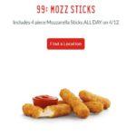 Sonic – 4 piece Mozzarella Sticks for 99¢ *Today ONLY*