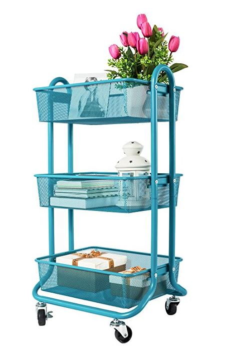 Designa 3 Tier Metal Mesh Rolling Storage Cart With