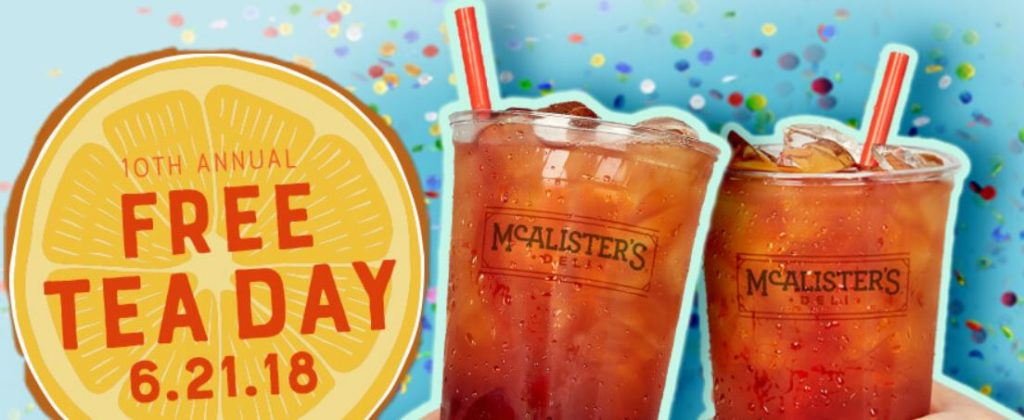 picture relating to Mcalister's Coupons Printable called McAlisters Deli Cost-free Tea Working day June 21st - STL Mommy