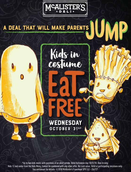 graphic about Mcalister's Coupons Printable titled McAlisters Deli - Children Try to eat No cost upon Halloween - STL Mommy