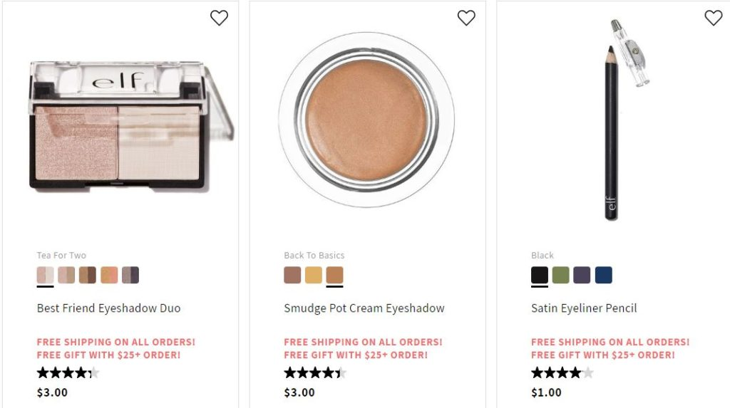 e l f  Cosmetics – FREE Shipping + Deals Under $5 + FREE